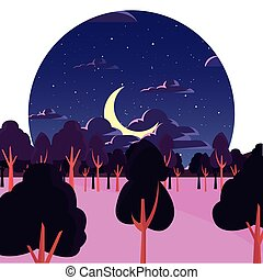 forest night trees moon stars natural landscape