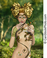Forest Nymph - an illustration of a nymph who lives in the...
