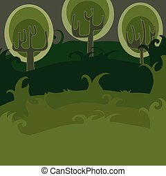 Forest of magic trees. Vector