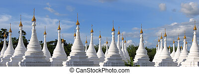 Forest of stele in Kuthodaw , Mandalay , Myanmar , Panorama...