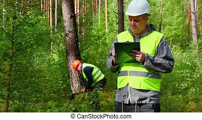 Forest Officer in forest with worker behind