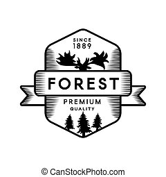 Forest outline vector logo template