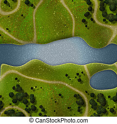 Forest overhead - Illustration of overhead nature trails...