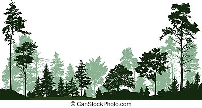 Forest, park, alley. Landscape of isolated trees. Vector illustration
