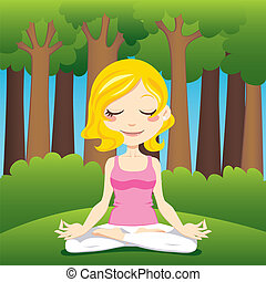 Forest Peace - Cute blonde woman meditating and exercising ...