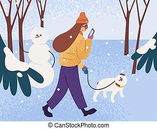 forest., perro, carácter, plano, ambulante, mascota, mirar, caricatura, nevoso, illustration., weather., persona, smartphone., mujer, invierno, tibio, ropa de calle, caminata, hembra, joven, parque, vector