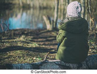 forest., peu, bûche, girl, séance
