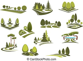 Forest, public park and garden landscapes icons - Peaceful ...