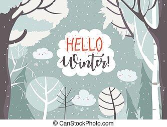 forest., ram, hej, vinter, tecknad film