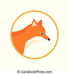 Forest red fox - Forest animals. Cute red fox round icon.