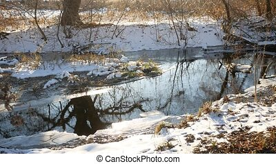 Forest river flowing water nature late winter melted ice...