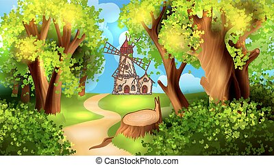 Forest road with windmill on background