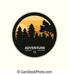 Forest Scene Adventure Round Circle Badge Design