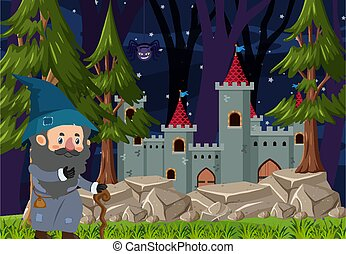 Forest scene at night with a wizard standing beside the castle