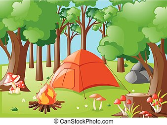 Forest scene with campfire and tent