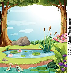 Forest scene with fish in the pond