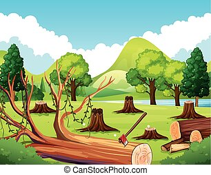 Forest scene with stump trees