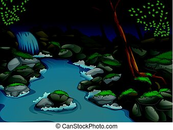 Forest scene with waterfall and trees at night