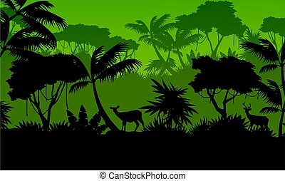 Forest scenery with deer silhouettes