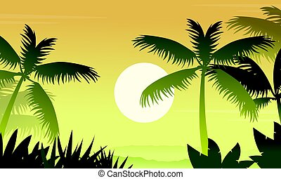 Forest scenery with palm silhouettes