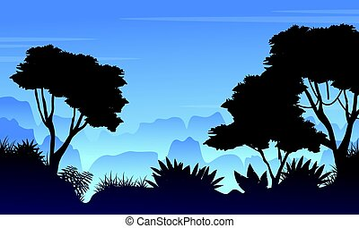 Forest scenery with silhouette style