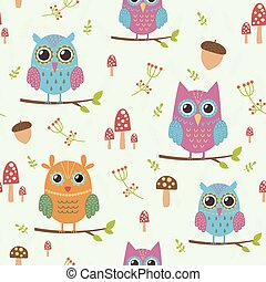 Forest seamless pattern with owls