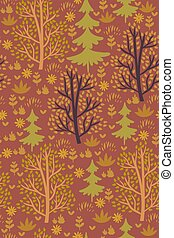 Forest seamless pattern with trees. Vector graphics.