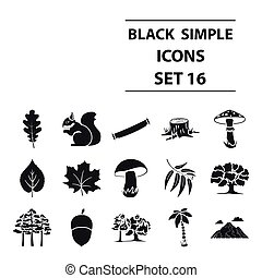Forest set icons in black style. Big collection forest...