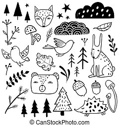 Forest set. Sketch style monochrome collection
