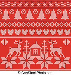 Forest spirit. Set of traditional Scandinavian Christmas patterns.