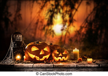 forest., spooky, sombre, halloween, potirons