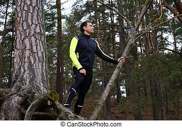 forest., sporty, człowiek