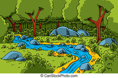 Forest Stream - A cartoon stream running through a lush,...