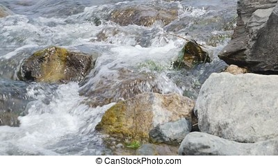 Forest stream, Stream Water and Green Mossy Rocks, Moss On The Rocks Forest Stream, Forest river, Water runs quickly through the rapids, Granite boulders with river