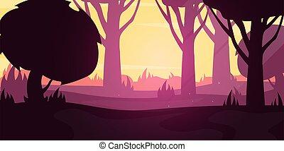 Forest Sunset landscape Background in the sunshine. Vector Illustration.
