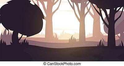 Forest Sunset or Sunrise landscape Background in the sunshine. Vector Illustration.