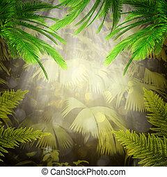 forest., természetes, elvont, háttér, reggel, tropikus, korán