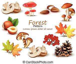 Forest theme set with mushrooms, nuts, leaves, pinecone Vector