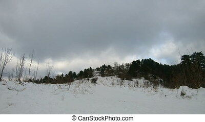 Forest time lapse in winter, moving clouds