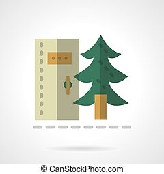 Forest toilet flat color design vector icon