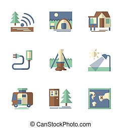 Forest tourism flat vector icons - Objects for camping and...
