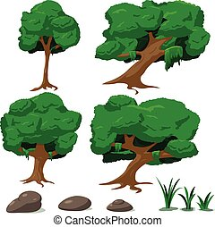 Forest Tree Cartoon illustration Set Vector