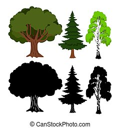 Forest tree vector elements. Green ans black silhouettes trees