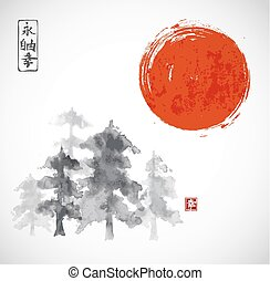 Forest trees ammd red sun hand drawn with ink