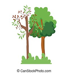 forest trees bushes grass leaves foliage branches cartoon design