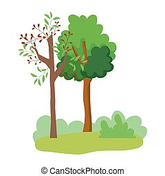 forest trees bushes grass leaves foliage cartoon design