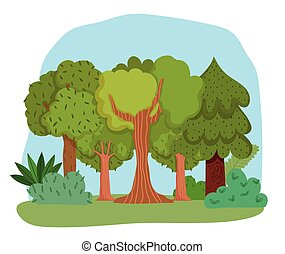 forest trees bushes grass leaves foliage greenery cartoon design