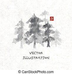 Forest trees hand drawn with ink