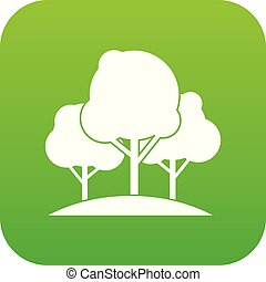 Forest trees icon digital green