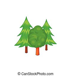 Forest trees icon in cartoon style